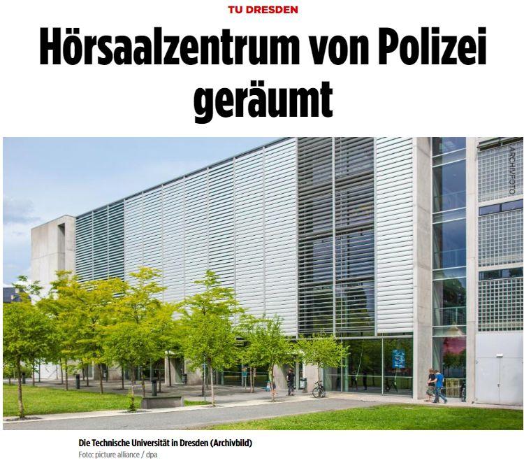 外国学生占领德国大学教室!结果被警察按倒在地,带离德累斯顿工大学校。